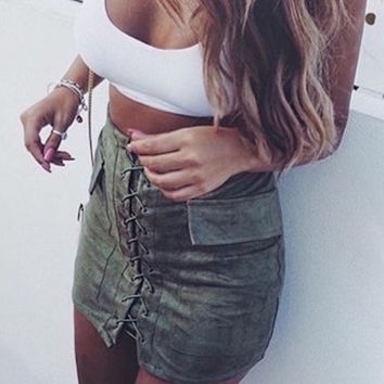 Strappy Lace Up Suede Army Green Skirt
