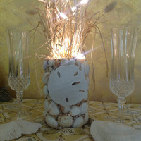 Sea Shell Nautical Wedding Centerpiece, Sand Dollar Bride- Flameless shells and LED battery operated branches- Wedding Reception Beach Decor