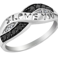 White and Black Diamond I Love You Promise Ring 1/10 Carat (ctw) in Sterling Silver:Amazon:Jewelry
