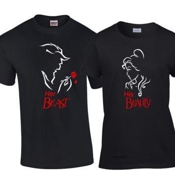 Beauty and the Beast matching Couples Shirts