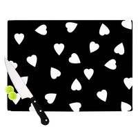 "Suzanne Carter ""Hearts White"" Black Cutting Board"