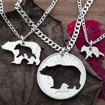 Daddy Bear, Momma Bear and Baby Bear Necklaces