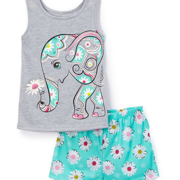 4-D Elephant Tank & Shorts - Toddler & Girls