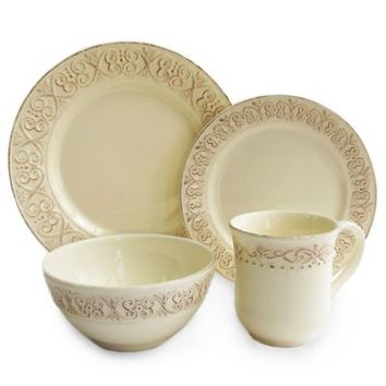 American Atelier Calista 16-Piece Dinnerware Set in Cream