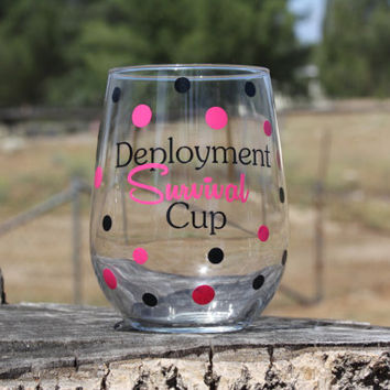 Stemless Deployment Survival Cup- Deployment - Military wives- Survival Kit- Survival Cup