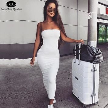 NewAsia Garden 2 Layers Cotton Summer Dress Women Maxi Dress Sexy Bodycon Dress Long Dresses White Vestido Midi New