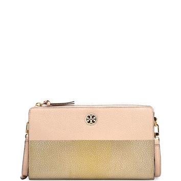 Tory Burch Perry Colorblock Wallet Crossbody Bag, Light Oak/Gold