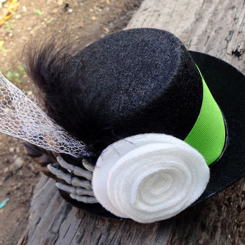 Green White and Black Skeleton Hand Mini Top Hat by Windsday