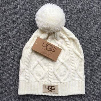 UGG Autumn Winter New Knit Women Men Warm With Small Ball Cap Hat White