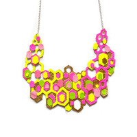 Gold Geometric Necklace in Neon Yellow and Hot Pink, Colorful Neon Statement Jewelry | Boo and Boo Factory - Handmade Leather Jewelry