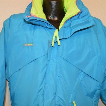 90s Columbia 3-in-1 Blue Pink And Yellow Neon Ski Jacket Medium
