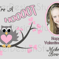 Hoot Owl Personalized Valentines Day Card - Printable