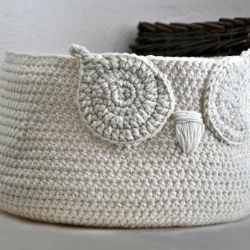 Custom Owl Basket Crocheted Bin Neutral Baby Room Decor Woodland Nursery Decor Home Organizer