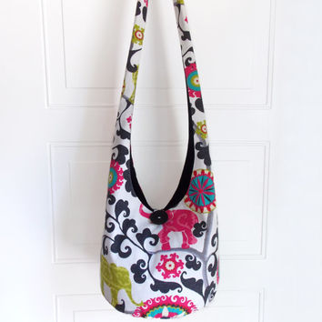 Hobo Bag, Sling Bag, Elephants, Pink, Black, Green, Floral, Geometric, Hippie Purse, Crossbody Bag
