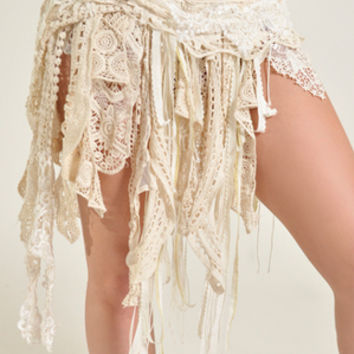 Pearls & Lace Tribal Gypsy Fringe Belt - IVORY