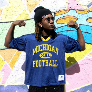Vintage MESH Michigan Football Jersey by STARTER in Navy Blue Net w Yellow Writing - Size XXL - Plus Size Plus Sized