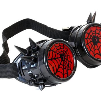 Black Goggles with Red Spiderwebs Cobwebs & Spikes Goth Cyber Cosplay