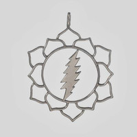 Sacred Geometry ~ Lotus Flower with 13 Point Lightning Bolt Pendant ~ Grateful Dead ~ Sterling Silver