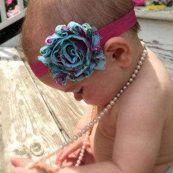 Baby headband, baby headband set, shabby chic baby headband, flower headband, floral headband, headband for girls, polka dot headband