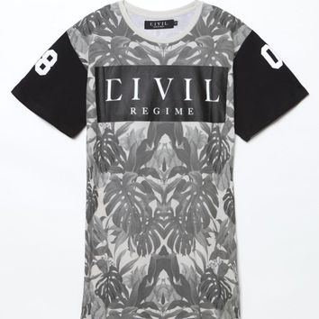 Civil Mirrored Foliage Drop Hem T-Shirt - Mens Tee - Black