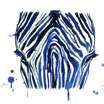 Watercolor Print The Blue Zebra By From Jessica Illustration