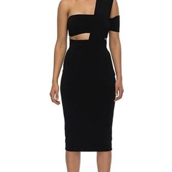 Reach For The Stars Black One Shoulder Mock Neck Cut Out Bodycon Bandage Midi Dress