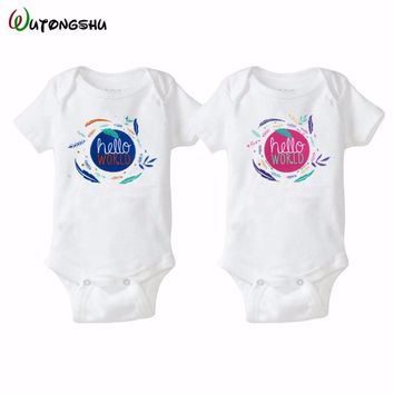 Hello World Twins Baby Bodysuits For Boys & Girls Gift Novelty Summer Newborn Baby Clothes Set Cute body bebe Clothing For 0-12M