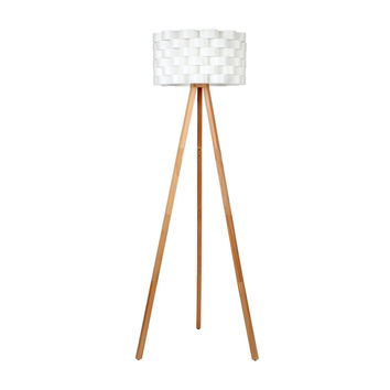 Bijou Tripod Floor Lamp - Contemporary Design for Modern Living Rooms - Soft Ambient Lighting - Made with Natural Wood - Natural Color Wood