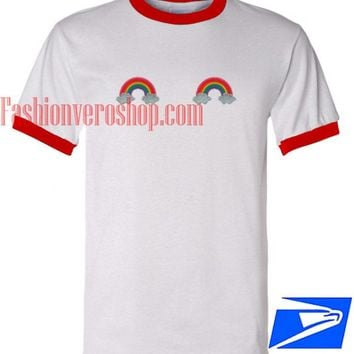 Rainbow Patches Ringer Unisex adult T shirt