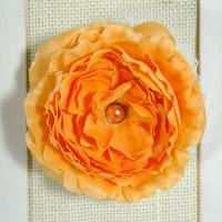 """In Stock Orange Silk Ranunculus and Ivory Lace Flower Choose Hair Clip Barrette or Brooch Pin 3.5""""  Other Colors Available"""