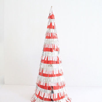 Red Christmas Tree Cone Decoration - Christmas Decoration, Mantel Decoration, Red Fringe Decor, Centerpiece, Christmas Ornament