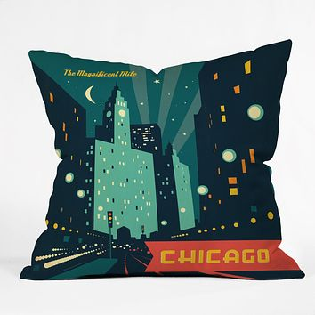 Anderson Design Group Chicago Mag Mile Throw Pillow