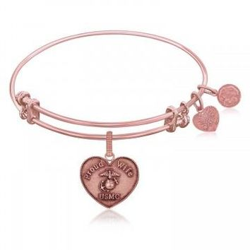 Expandable Bangle in Pink Tone Brass with U.S. Marine Corps Proud Wife Symbol