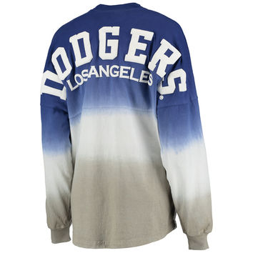 Women's Royal Los Angeles Dodgers Oversized Long Sleeve Ombre Spirit Jersey T-Shirt