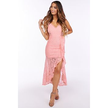 Race to Lace Cascading Ruffled Dress (Pink)