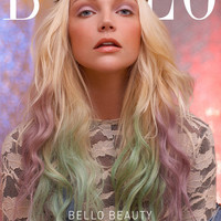 "20"", Ombre, Dip Dye, Tie Dye, Light Blonde Hair with Pastel Green and Lavender Hair Extensions//(7) Pieces//Full Set"