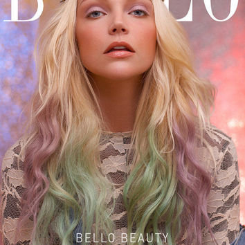 """Blonde Pastel Ombre with Green and Lavender Dip Dye//Human Hair Extensions//(6) Piece Clip-In//ReadyToShip//20"""""""