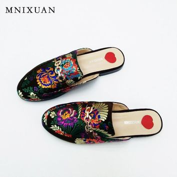 Silk sandals women flats ladies mules shoes Closed toe slippers big size
