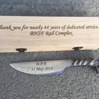 Personalized retirement gift, retirement gifts for men, retirement gift ideas, retiree, newly retired, railroad spike knife, for grandpa