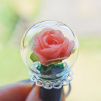 Pink Rose Ring Coral Peach Red Flower Love Romantic Green Moss Glass Dome Miniature Terrarium  Garden Unique OOAK Adjustable