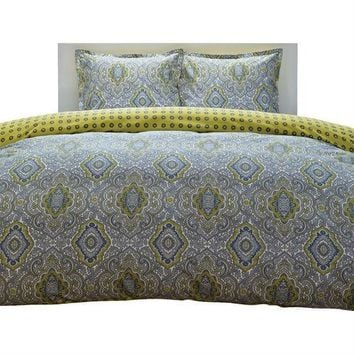 King Size 100% Cotton Damask 3 Piece Comforter Set In Yellow / Blue