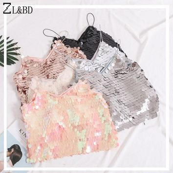 ZL&BD Sexy Clothes Womens Summer Spaghetti Strap V-Neck Sequined Tank Tops Backless Beach Punk Camis Sleeveless Vest Tops ZA480