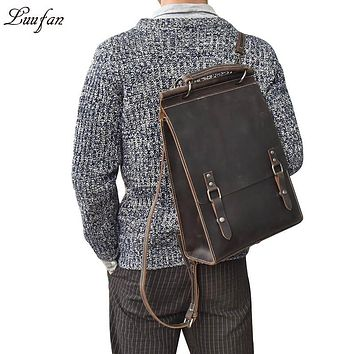 Lady Leather Backpack Vintage Crazy Horse Leather Daypack High Quality Travel Rucksack School Book Bag women Laptop Shoulder Bag
