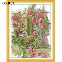 DIY Handmade Needlework Counted Cross Stitch Set Embroidery Kit 14CT Birds' Family Pattern Cross-Stitching 37 * 47cm Home Decor