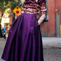 Purple Pleated A Line Flare Ball Gown Midi Skirt