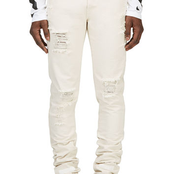 Off-white Off-white Distressed Natural Denim Jeans