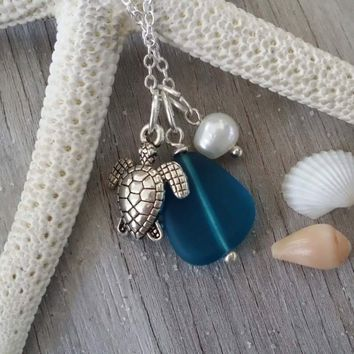 Handmade in Hawaii, Teal blue blue sea glass beach glass necklace,Sea turtle charm ,Natural  pearl, 925 sterling silver chain, gift box