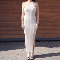 Ribbed Bodycon Long Dress (Beige) | STYLENANDA
