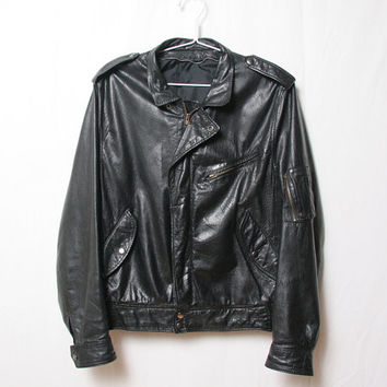 Vintage Black leather mens motorcycle jacket-medium- 1980s