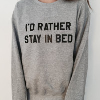 Fashion English sweater personality couple I 'D RATHER STAY